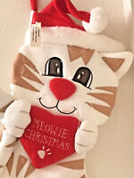 """Christmas Stocking Cat 3-D """"Meowie Christmas"""" Brand New with tag Adorable"""