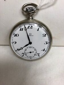 STAINLESS STEEL OMEGA POCKET WATCH MANUAL WINDING