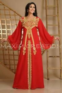 DUBAI CAFTAN ORIENTAL FRENCH ROBE MODERN JILBAB CRYSTAL LUXE KAFTAN DRESS 3618