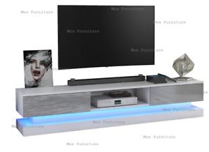 Modern 180cm TV Unit Cabinet home Stand  Matt  High Gloss Doors LED Light New UK