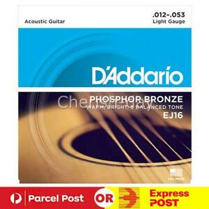 For D'Addario EJ16 Phosphor Bronze Acoustic Guitar Strings 12-53 AU
