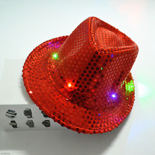 Flashing Light Up LED Sequin Fedora Trilby Fancy Dress Dance Party Top Jazz Hat