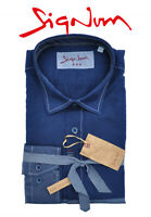 SIGNUM HEMD Rugged Freizeithemd Blau Langarm Slim Fit 151610 Shirt Gr. S-XL