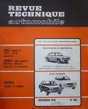 Revue technique TOYOTA CELICA CARINA 383 1978 + SIMCA RALLYE 1 et 2 RALLYE 3