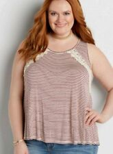 MAURICES NWT LACE UP BACK CROCHET RED IVORY STRIPE TANK PLUS 1X HI LO BLOUSE TOP