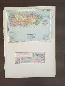 "COLOR MAP 12 1/2"" X 9 1/2"" Rand McNally of Porto Rico-1905"