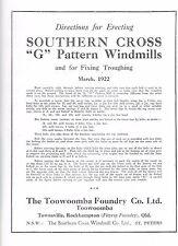Southern Cross WINDMILL Erecting 1903, AGE, H, G , JA, R, Z, IZ, PRINTED Manuals