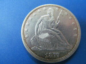 1877  SEATED LIBERTY HALF DOLLAR - EXTREMELY WELL PRESERVED - LIGHTLY CIRC.COIN