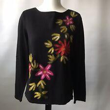 Rafaella USA Luxurious Jumper Pullover Black Floral Flocked 100% Cotton UK 14-16