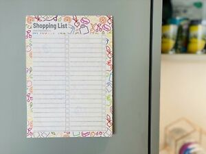 Shopping List Pad / Notebook with Magnetic Back, A5 Size, Modern & Bright