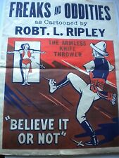 1930's ORIGINAL ARMLESS KNIFE THROWER POSTER RIPLEY'S NOT FREAKS ODDITIES CIRCUS
