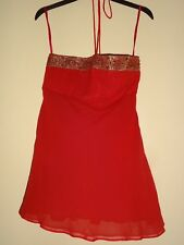 MONSOON scarlet red strapless silk top with gold embroidered band halter neck 12
