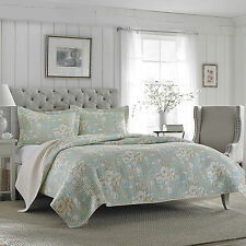 Laura Ashley Brompton Turquoise Floral Cotton Bedspread, Quilt Bedding Set/Twin