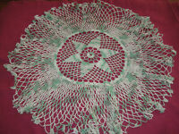"""Vintage 16"""" Crochet Round Doily Green & White Variegated Lacy"""