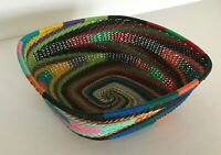 African Zulu traditional telephone wire basket- desk accessory