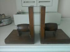 Antique oak  pair of wooden book ends with a unique wooden barrell on each