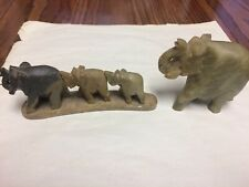 Vintage Hand Carved 3� Stone Elephant Figurine Lot