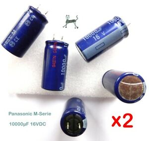10000uF 10mF 16V (2 Stück) - PANASONIC M-Serie 85°C 2000h - 18 x 36mm - Low ESR