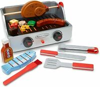 Melissa & Doug Wooden Rotisserie & Grill BBQ 24 Piece Toy Playset & Accessories
