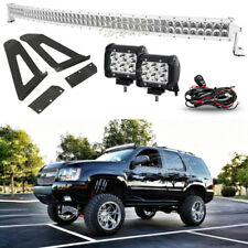 50INCH 672W+18W Curved LED Light Bar + Mount Bracket Fit Jeep Cherokee XJ White