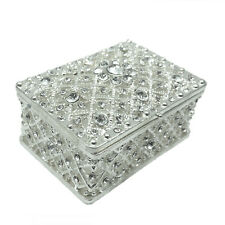 Crystal Rhine Stone Paved Millgrain Silver Plated Alloy Jewelery Trinket Box