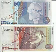 Cape Verde Lot Set 500-1000 Escudos 1992 P 64- P 65 Specimen. Unc. 5Rw 16Feb
