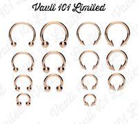 316L ROSE GOLD Horseshoe Bar - Lip Nose Septum Ear Ring Various Sizes available