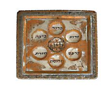 Used Collectible Big Passover Copper Seder Plate Square Shape & Filigree Design*