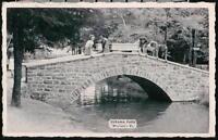WEATHERLY PA Eurana Park Folks on Bridge Vintage B&W Postcard Early Old PC
