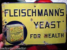 Original 1927 Fleischmanns Yeast For Health Metal Sign Raised Letters Burdick Co