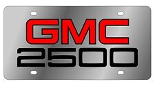 New GMC 2500 Red Logo Stainless Steel License Plate