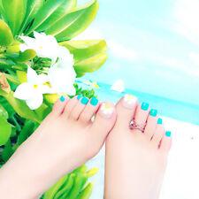 24Pcs foot false nail tips cute flower fake toes nails with glue toe nail art Fm