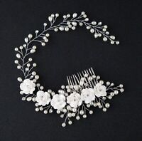 Women White Wedding Bride Bridal Pearl white Flower Party Hair Headband comb pin