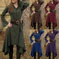 Womens Vintage Renaissance Gothic Costume Medieval Lace Up Long Sleeve Dress Top