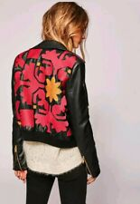 NWT $228 Free People Embroidered Vegan Leather Bomber Jacket Sz S