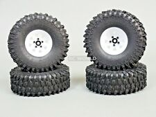 1/10 SCALE TRUCK RIMS 1.9 STEEL STAMPED Beadlock Wheels WHITE 120MM ROCK TIRES