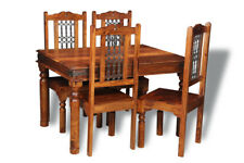 DINING ROOM FURNITURE JALI SHEESHAM 120CM TABLE AND 4 JALI CHAIRS (J40&4J46)