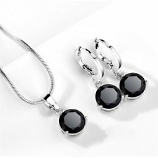 Charming Women Jewelry Mystic Black Topaz Gems Silver Earrings and Necklaces Set