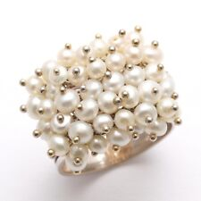 Vintage 14k white gold Pearl cluster Ring Band Wide Estate