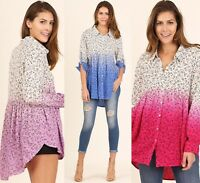 SML UMGEE Periwinkle ROSE or LILAC Ombre button Babydoll Top/Blouse/Shirt  BHCS