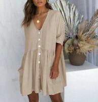 Sundress Ladies Loose Summer Women's Shirt Dress Smock Holiday Beach Tops Casual