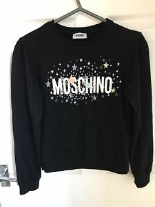 STUNNING GENUINE MOSCHINO GIRLS LONG SLEEVED BLACK STARRED JUMPER AGED 14 Years