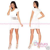 Cocktail Bodycon Scoop Neck Short Sleeve Mini Wrap Dress Tunic Sizes 8-14 FC1459