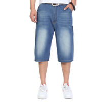 Big & Tall Mens Jean Shorts Baggy Fit Denim Hip Hop Shorts Loose Large Character