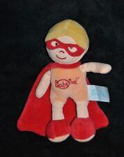 Peluche doudou poupée garçon masque BABY NAT' super héros cape rouge 19 cm NEUF