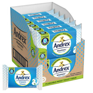 Andrex Washlets Classic Clean Flushable Moist Toilet Tissue - Pack of 12 x 40