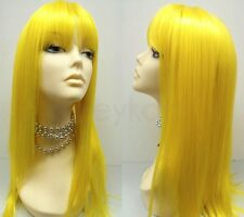 Yellow Color Wig Long Straight Bangs Synthetic Cosplay Anime Lolita 20""