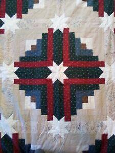 Handmade King Star Patchwork Quilt Brown Tan Burgundy Blue Cotton Fabrics 78x102