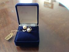 ANTIQUE14kt gold Deco Style double Cultured Pearl Estate Ring