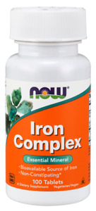 NOW FOODS Iron Complex 100 Vegan Tablets FREE WORLDWIDE SHIPPING